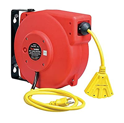 ReelWorks CR605132S3A Heavy Duty Extension Cord Reel, 14AWG/3C SJT, Triple Tap, 40'