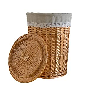 Rurality round wicker laundry basket with lid and linen liner large home kitchen - Wicker laundry basket with liner and lid ...