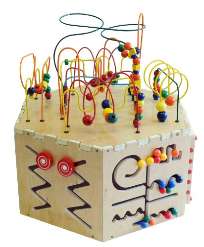 Six Sided Play table board Beaded Wire Rollercoaster Pathfinder, Learn the Alphabet, an Abacus, Gears, Magnetic Circle Express and a Ziggidy Zag Panel