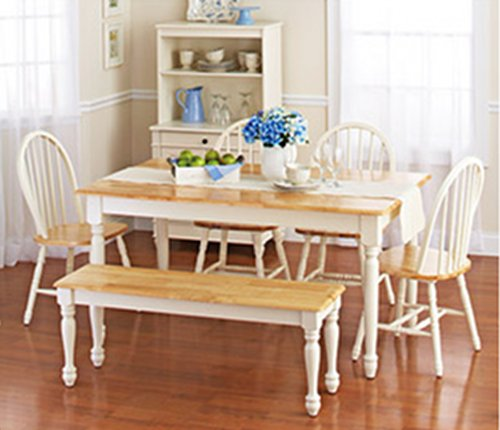 White Kitchen Table With Bench: White Dining Room Set With Bench. This Country Style