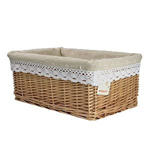 Rurality rectangular wicker storage basket with liner - Wicker hamper with liner ...