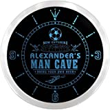 ncx0141-tm Alexander's Man Cave Soccer Bar Custom Name Neon Sign Clock