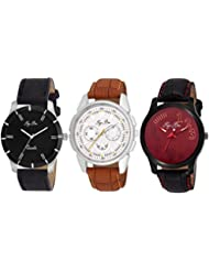 Pappi Boss - BRANDED ORIGINAL - Pack Of 3 Exclusive Analog Combo Deal Casual Wrist Watches For Men, Boys - DEAL...