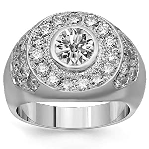Platinum Mens Diamond Ring 3.75 Ctw - 5