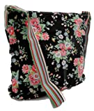 Gossip Girl &#8211; Washed Cotton Canvas Messenger Slouch Bag Floral Flower With Coin Purse!! &#8211; BLACK