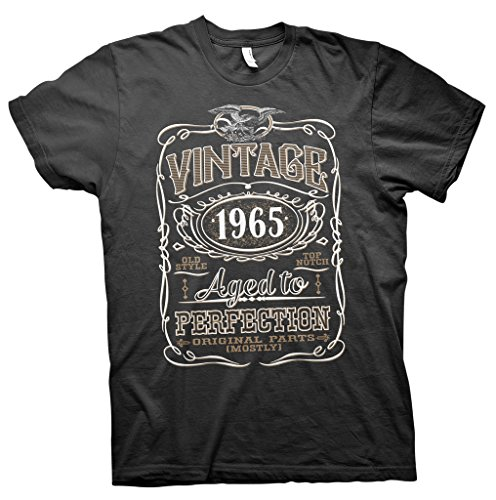 Vintage Aged To Perfection 1965 - NO Distress - 50th Birthday Gift T-shirt - Black