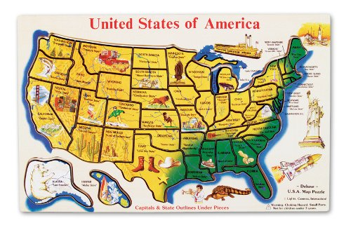 Melissa & Doug Wooden USA Map Puzzle