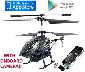 iHelicopter con Cámara - iCam Lightspeed i-Helicopter Controlado por Smart Phones de Android, iPad o iPhone con Cámara para Vídeo y Fotos