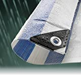 4.5M x 6.0M BLUE STRIPED WATERPROOF TARPAULIN SHEET TARP COVER WITH EYELETS