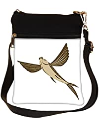 Snoogg Flying Fish Retro Style Cross Body Tote Bag / Shoulder Sling Carry Bag