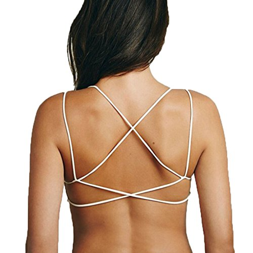 6fd54ae1da BJAC Sexy Women Cut Out Cage Back Backless Crop Cami Top Bralette Bra  Bustier White (