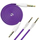 iTALKonline BLU Studio 5.0 E PURPLE FLAT 3.5mm Gold Plated Jack to Jack Male AUX Auxiliary Stereo Jack Cable Lead Wire