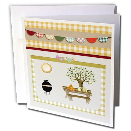Gc_182715_2 Beverly Turner Picnic Design - Barbeque Pit, Picnic Table With Platter And Lemon Aid, Green Gingham - Greeting Cards-12 Greeting Cards With Envelopes