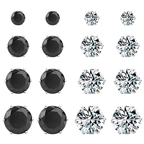 Colov Cubic Zirconia Stud Earrings - Women's Stainless Steel Round Earring Hypoallergenic,Nickel-free (Italian Horn Bone compare prices)