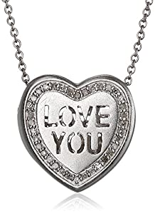 """Sweetheart Jewelry Sterling Silver and Diamond Heart """"Love You"""" Pendant Necklace (1/10 cttw, H-I Color, SI1-SI2 Clarity), 18"""""""