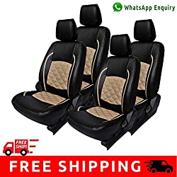 Autofact Brand (Economical Range) PU Leatherite Car Seat Covers for Maruti Car 800 Old Model in Full Black with Beige Cross