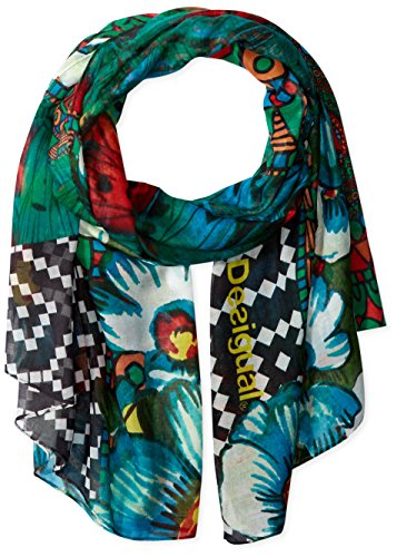 Desigual, SUNRISE RECTANGLE - Sciarpa para donna, color verde selva, talla One size