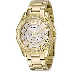 Fossil Riley Multifunction Gold Dial Boyfriend Watch: Fossil: Watches