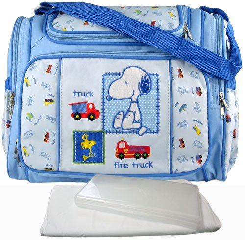 blue snoopy large baby diaper bag with changing pad plastic wipes case gift for mom. Black Bedroom Furniture Sets. Home Design Ideas
