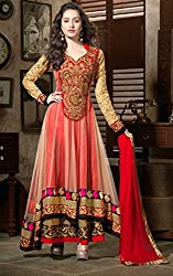 Smart Buy Women's Net Cocktail Unstitched Dress Material (modi-net-red-mf-181_Red_Free Size)