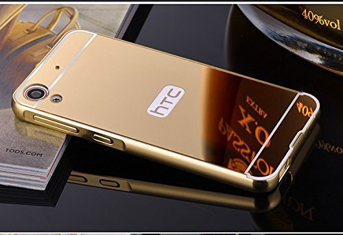 HTC One E9s Case, Luxury Metal Bumper+Acrylic Mirror Back Cover Case For HTC Desire One E9s- (Gold) By First 4
