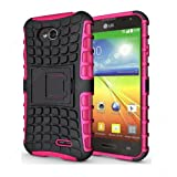 CaseMachinee Flip Kick Stand Hard Dual Armor Hybrid Bumper Back Case Cover For LG L70 D325 Dual Sim - Pink