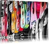 guitare classique sur le marché noir / blanc sur toile, énorme XXL photos complètement encadrée avec civière, impression d'art sur ??la photo murale avec cadre, moins cher que la peinture ou une peinture à l'huile, pas une affiche ou une bannière