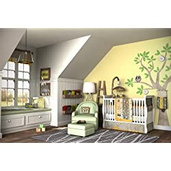 DK Leigh Owl 7 piece Gender Neutral Crib Bedding Set, Yellow/Green
