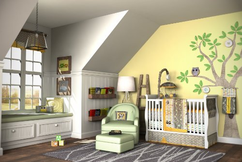 10PC OWL Gender Neutral Crib Bedding Set Grey & Yellow