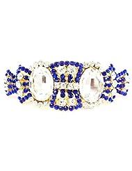 Designer Back Pin Bakkal Clip, Gold Tone, Blue-White Stone Stud, White Kundan Stud
