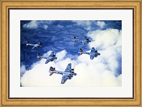 High angle view of fighter planes in flight, B-17 Flying Fortress, Eighth Air Force, World War II, England Framed Art Print Wall Picture, Wide Gold Frame with Hanging Cleat, 30 x 22 inches