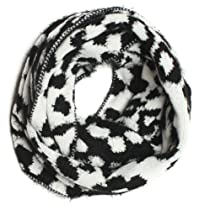 DRY77 Premium Knitted Leopard Skin Pattern Infinity Loop Scarf, White