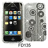 Apple iPhone 4 (At&t/Verizon) Full Diamond Crystal, Black Flowers on White Full Rhinestones/Diamond/Bling – Hard Case,Cover,Faceplate,Snap On,Housing,Protector
