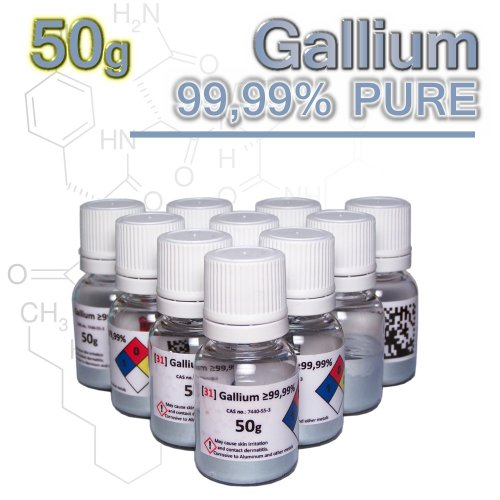 GALLIUM 99.99% pure - 50g - liquid metal bullion in clear bottle