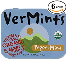 VerMints All Natural PepperMints, 1.41-Ounce Tins (Pack of 6)