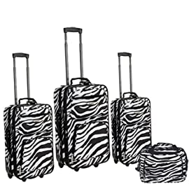 Rockland F105 Series 4 Piece Animal Print Luggage Set in Zebra