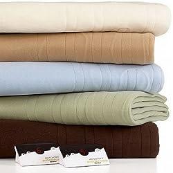 Biddeford Comfort Knit Fleece Natural (Ivory) Queen Heated Blanket