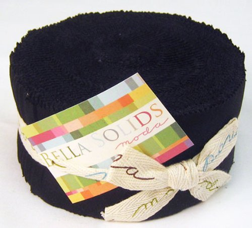 Moda BELLA SOLIDS BLACK Jelly Roll 2.5