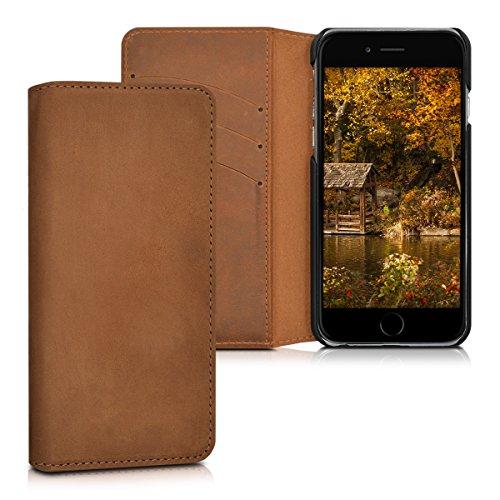 kalibri-Echtleder-Tasche-Hlle-fr-Apple-iPhone-6-6S-Case-mit-Fchern-und-Stnder-in-Cognac
