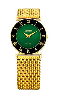 Jowissa Women's J2.046.M Roma Gold PVD Stainless Steel Green Dial Roman Numeral Watch