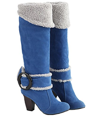 Minetom Donna Autunno Inverno Ginocchio Stivali Tacco Alto Fibbia Boots Tacco Chunky Biker Stivali Blu EU 38