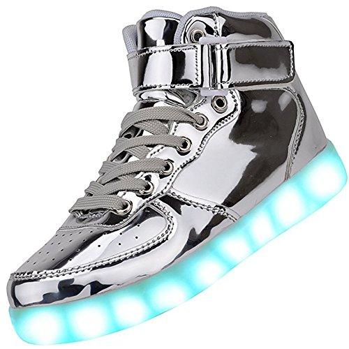 AoSiFu 7 Colors Unisex USB Charging High Top LED light Shoes Flashing Sneakers (6.5 B(M) US Women /4.5 D(M) US Men, silver)