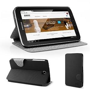 Anker® Slim Leder Hülle für Samsung Galaxy Tab 3 7.0 (7 Zoll) SM-T210 SM-T211 Case Tasche Etui Schutzhülle aus PU Kunstleder mit Ständer (Schwarz)