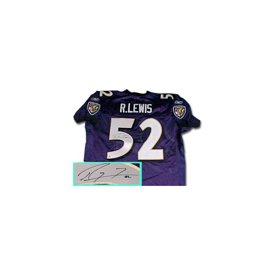 best loved cab03 97568 Ray Lewis Baltimore Ravens Autographed Reebok Blue Jersey on ...