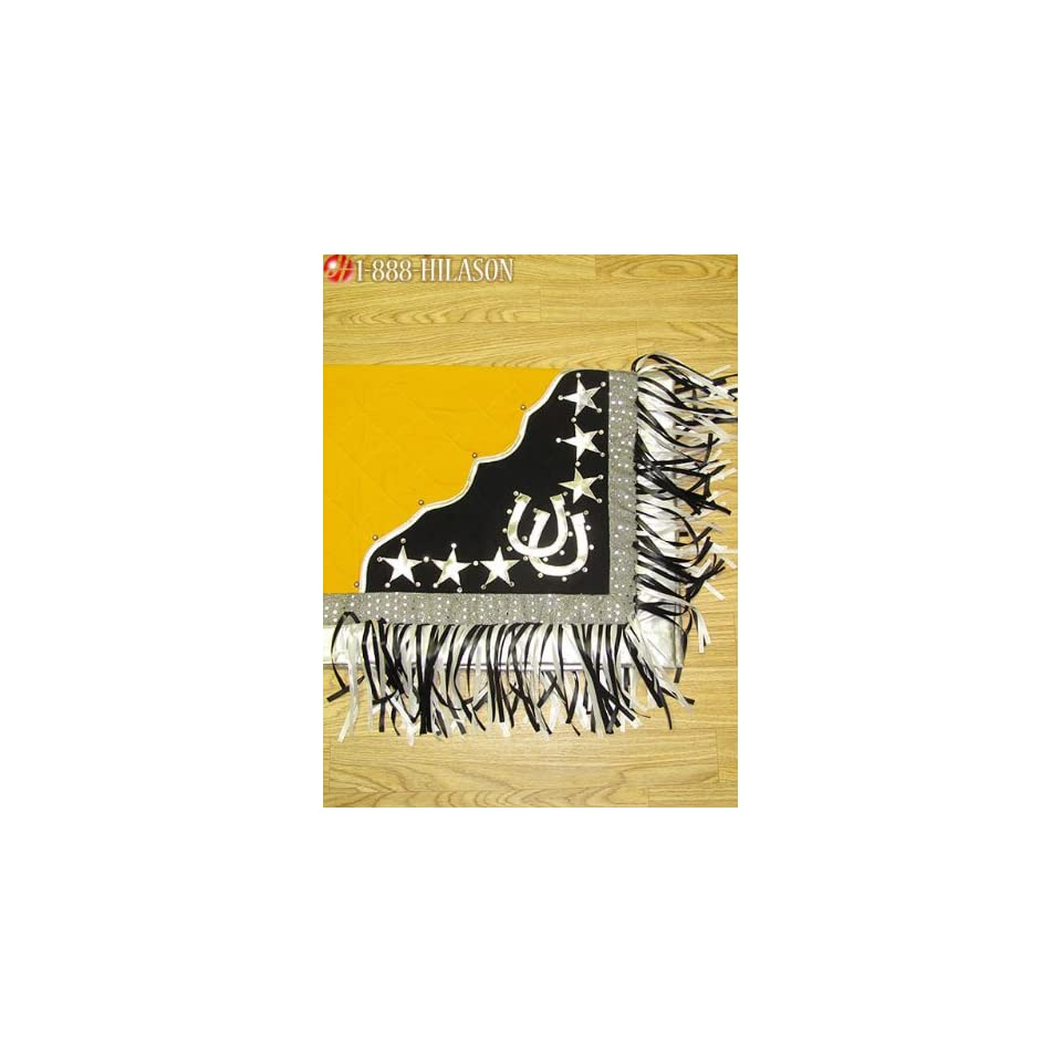 Blanket Yellow Body Silver Border Horse Shoes & Star Design White And Black Fringes