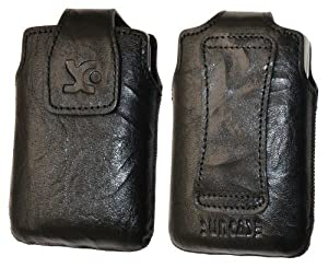 Original Suncase Echt Ledertasche (Magnetverschluss) für Sony Ericsson Xperia mini pro wash-schwarz