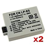 eForCity 2 PACK LP-E5 REPLACEMENT BATTERY PACK Compatible with CANON CAMERA EOS Digital Rebel Xsi / Xs