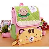 Big Mango Super Cute Cat Design Children Cartoon Backpack Kids Shoulder Bag Light School Bag - Green