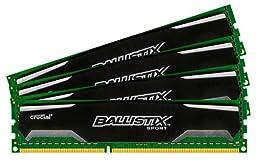 Ballistix Sport 16GB Kit (4GBx4) DDR3 1600 MT/s (PC3-12800) CL9 @1.5V UDIMM 240-Pin Memory BLS4KIT4G3D1609DS1S00