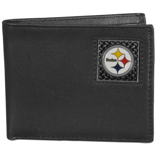NFL Pittsburgh Steelers Gridiron Leather Bi-Fold Wallet from SteelerMania